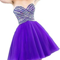 Vienna Bride 2015 Trendy Rhinestones Homecoming Party Prom Dress for Juniors-4-Purple