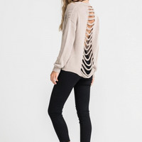 Women's Distressed Back Sweater