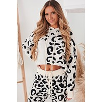 Unbothered Leopard Knit Hoodie (Ivory/Black)