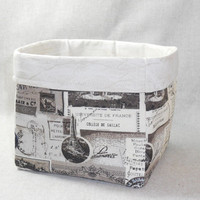 Lovely Black and Cream French Fabric Basket