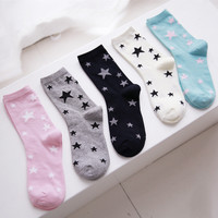 new design high quality cotton spring autumn fashion creative contrast color stars pattern ladies women casual brand socks