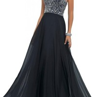 Artie 2016 A-line Strapless Long Chiffon Prom Dresses with Beading