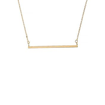 Celebrity Trend 14K Gold Horizontal Bar Necklace