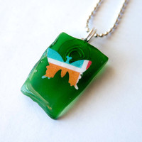 Butterfly and Green Recycled Glass Pendant, Paper Jewelry, Gifts for Girls