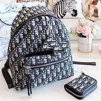Dior New fashion letter canvas backpack bag wallet two piece suit bag women