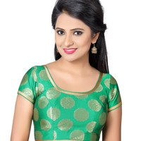 Green Mandala Print Brocade Silk Saree Blouse  SNT-X-429-SL