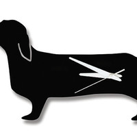Modern Black HAPPY HOTDOG Doxie DACHSHUND Dog Wall Clock/ As seen in Family Circle, Metropolitan Home, Out and more...