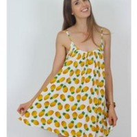 Pineapple Print Sleeveless Beach Dress