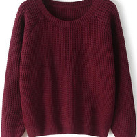 Wine Red Round Neck Long Sleeve Chunky Sweater - Sheinside.com