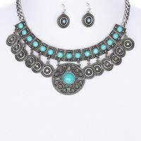 Bohemian Style Medallion Necklace and Earrings Set