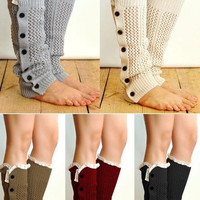 New Knitted Leg Warmers For Women Button Down Boot Cuffs Lace Trim Gaiters Boot Socks Crochet Leg Warmers SV012404|28001 Apparel & Accessories = 1946884548