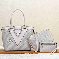 Best Gifts Michael Kors MK Women Shopping Bag Leather Tote Handbag Shoulder Bag Set Three Piece