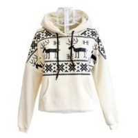 Chick&Stylish - Winter Womens Deer Hooded Hedging Loose Sweater Coat 3 Colors New Arrival Super (White)