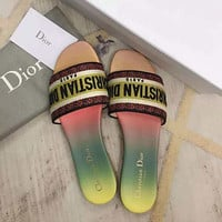 Dior 2020 early spring new women's canvas embroidered logo slippers shoes