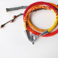 Bright long bead crochet necklace, beaded rope, autumn colors, red orange yellow crimson, 2-strand necklace, seed bead jewely, beadwork