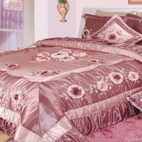DaDa Bedding Floral Dusty Rose Pink Romantic Ruffles Bedspread Comforter Set, King, 5-PCS (BM6001)