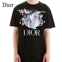 DIOR Popular Men Women Mechanical dinosaur Tyrannosaurus Rex Flower Letter Print T-Shirt Top Blouse