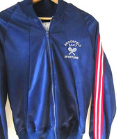 Vintage 70's SPARTANS Retro TENNIS Brookfield School East High School Athletic Striped Zip Warm Up Jacket Sz M