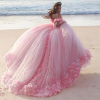 Custom Made Pink Ruffles Tulle Wedding Dress Flowers Bridal Ball Gown Wedding Party Dresses