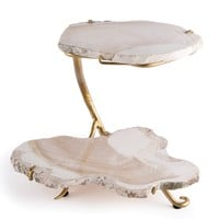 Fossilized Clam Decorative Tiered Tray