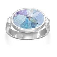 Ancient Roman Glass Ring with Hammered Band