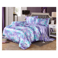 Silk King Queen Double Size Silk Duvet Quilt Cover Sets Bedding Cover Set  03