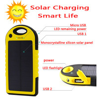 Newest 5000mAh Solar Power Charger and Battery Solar Panel waterproof shockproof Dustproof portable power bank for SmartPhone Laptop Camera