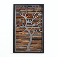 Wood wall art made of old barnwood and natural distressed steel. Different Sizes Available.
