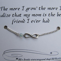 Family Love Charm Bracelet with Crystal and Love Quote Inspirational Card - Mother's Day - Best Friend - Mothers Bracelet - Quote Gift
