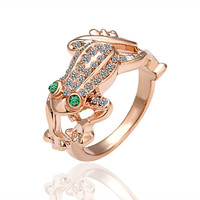 Emerald And Crystal Frog 18K Rose Gold Plated Ring