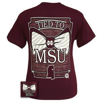 MSU Mississippi State Bulldogs Prep Tied To Bow Girlie Bright T Shirt
