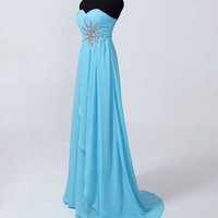 Beach Sweetheart Sweep Train Chiffon Beading Long Prom dresses from Cute Dress