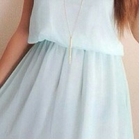 Shine A Light Pale Mint Sleeveless Round Neck Lace Trim Backless Halter A Line Chiffon Mini Dress