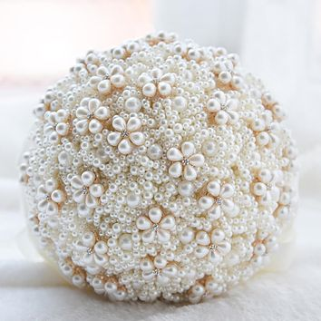 Luxury Pearl Wedding Bouquet 2019 elegant Bridal Bridesmaid Flowers Artificial Fake flower Home Decoration Wedding Bouquet Women