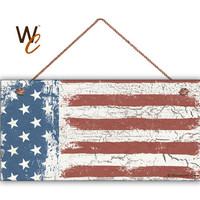 """American Flag Sign, Weathered Patriotic Decor, Stars & Stripes, Crackled Flag, Weatherproof, 5"""" x 10"""" Sign, USA, 4th of July ,Made To Order"""