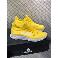 DCCK2 A611 Adidas Alpha Edge 4D Air Boost Mesh Breathable Running Shoes Yellow