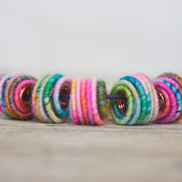 Big Hole (5.5mm) Handmade Fabric Textile Beads for Artisan Jewelry Designs