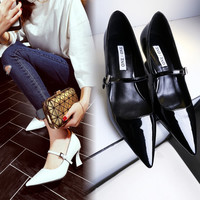 Korean Pointed Toe Leather High Heel Low-cut Shoes [4920470596]
