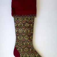 "Upcycled Christmas Stocking, Gold and Burgundy 17"" Long"