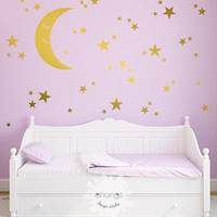 Moon and Stars Wall Decal / Star Wall Sticker / Kids Room Decal / Nursery decal / Home Decor