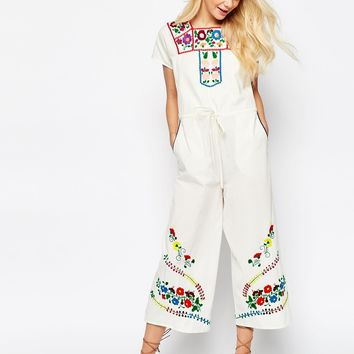 ASOS Embroidered Drawstring Jumpsuit