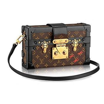LV Women Shopping Leather Louis Vuitton Monogram Canvas Petite Malle Leather Strap Handbag Article: M40273 Made in France Tagre™