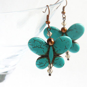 Turquoise Butterfly Earrings. December Birthstone, Freshwater Pearl. Swarovski Crystals. Antique Copper, Teal Blue
