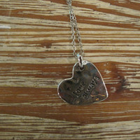 """Silver """"Love Always"""" Necklace - Heart Shaped Silver """"Love Always"""" Necklace - Medallion Necklace - Happy Jewelry - Sentiment Jewelry"""