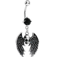 Sinful Skull with Wings Black Gem Dangle Belly Button Ring | Body Candy Body Jewelry