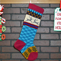 Hand Knit Christmas Stocking, Fair Isle Knit Stocking with Rich Orchid Pink Cuff, Grey Reindeer and Green Trees, can be personalized