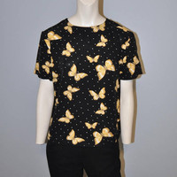 Vintage 1990's Black and Yellow Butterfly Blouse Short Sleeve Top Shirt Polkadot Pattern Butterflies Print Norton McNaughton Petite Insect