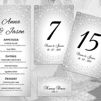 DIY Printable Wedding Table Package Deal Templates | Editable MS Word file | Instant Download | Silver Diamond Shower