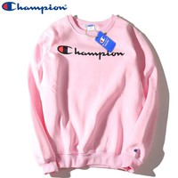 Champion Autumn and winter new fashion bust letter print thick couple long sleeve top sweater Pink