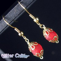 Crimson Red Krobo Bead Earrings, Gold Plated, Wire Wrapped